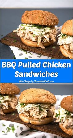 BBQ Pulled Chicken Sandwiches with creamy coleslaw are is a simple and delicious homemade chicken meal that is kid-friendly and mom-approved! Pulled Chicken Recipes, Pulled Chicken Sandwiches, Bbq Sandwich, Easy Sandwich Recipes, Easy Recipes, Creamy Coleslaw, Coleslaw Mix, Kid Favorite Recipe, Favorite Recipes