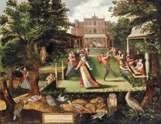 Circle of Joris Hoefnagel (Antwerp Vienna) , Elegantly dressed figures merrymaking in a garden Black History, Art History, Renaissance Music, Castle Painting, 17th Century Art, Vienna, Landscape Paintings, Medieval, Artwork