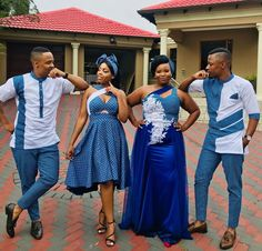 New South African Shweshwe Dresses South African Dresses, South African Traditional Dresses, Latest African Fashion Dresses, African Wear, Traditional Outfits, African Women, Seshoeshoe Designs, Design Ideas, Couples African Outfits