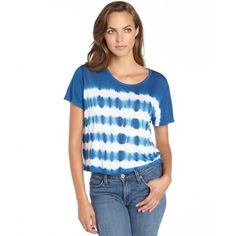 Love Sam Cobalt and white tie-dye cropped t-shirt ($16) ❤ liked on Polyvore featuring tops, t-shirts, white t shirt, white tee, summer crop tops, crop tee and tye dye t shirts