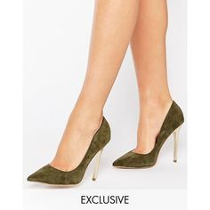 Office Shop Suede Gold Heeled Shoes ($97) ❤ liked on Polyvore featuring shoes, pumps, green, gold pumps, green pumps, pointed toe shoes, high heel pumps and gold high heel pumps