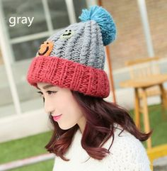 Cute Smiley face beanie knit hat for girls hairball autumn winter hats
