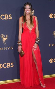 Red carpet style: Best and worst dressed lists at the 2017 Emmy Awards   Heidi Klum in coral red plunge neck high-slit gown   The Luxe Lookbook