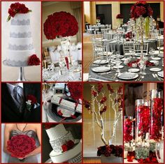 Grey, Red and White Wedding Theme
