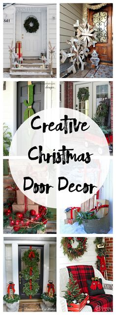 Creative Christmas Front Door Decor Turn your front entry into a cheery focal point with these Christmas door decorating ideas that are so easy to recreate! Front Door Christmas Decorations, Christmas Front Doors, Christmas Porch, Outdoor Christmas, Rustic Christmas, Winter Christmas, Holiday Decor, Holiday Ideas, Christmas Island