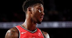 Alfonzo McKinnie #34 of the Toronto Raptors reacts during the preseason game against the Portland Trail Blazers on October 5, 2017 at the Moda Center in Portland, Oregon.