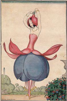 Flower Girl, by Gerda Gottlieb Wegener Art Nouveau, Vintage Magazine, The Danish Girl, Art Deco Illustration, Wow Art, Art Deco Period, Art Moderne, Art Graphique, Vintage Postcards