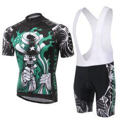 Men's Blacl Skeleton Short Sleeve Cycling Jersey Set #Cycling #CyclingGear #CyclingJersey #CyclingJerseySet