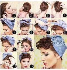 Vintage Hairstyles Curls Bandana Vintage Pinup Curls - Whether it be a party, formal meeting or a wedding these vintage hairstyle tutorials are adapt to fit every single occasion. Pin Up Curls, Pin Up Hair, Vintage Hairstyles Tutorial, Retro Hairstyles, Hairstyle Tutorials, Bandana Pelo, Short Hair Bandana, Pin Up Bandana, Bandana Hairstyles Short