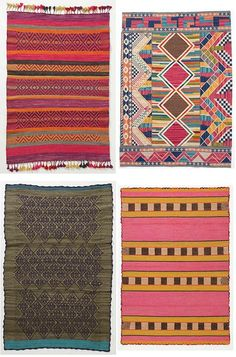 Rugs by Anthropologie: Huari rug with tassels, Minar rug with mosaic shapes, green and turquoise Stavanger, and Aymara with pink and chartreuse.
