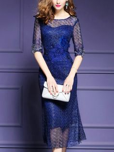 Dark Blue See-through Embroidered Bodycon Dress Midi Dress With Sleeves, Lace Midi Dress, Bodycon Dress, Red Dress Casual, Beige Lace Dresses, Evening Dresses Online, Dress Online, Lace Swimsuit, Red Bridesmaid Dresses