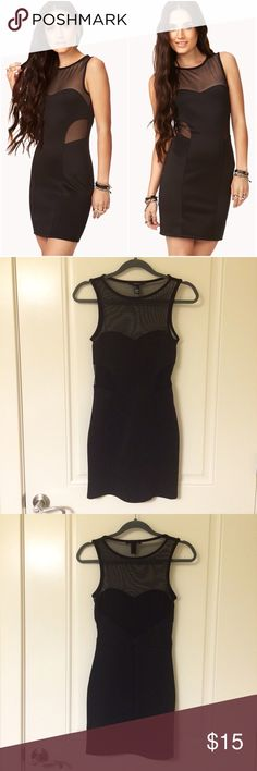 Black Scuba Mesh Cutout Fitted Bodycon Dress Worn once. Mesh front and back. Mock scuba fabric does have some  pilling in certain areas as shown in last photo. Unnoticeable when wearing to the casual eye. NO TRADES!! 😍 Forever 21 Dresses Mini