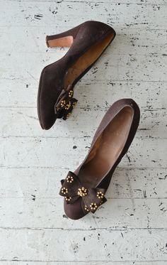 Ex Libris heels brown 40s bow heels vintage 1940s by DearGolden