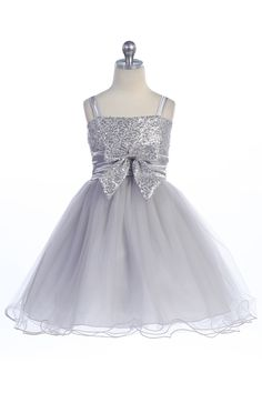 Click to enlarge : Silver Sequenced Fancy Flower Girl Dress first option for Ali I might be ok with