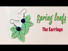 How to macrame: Earrings of the Spring leafs jewelry set - Hướng dẫn làm hoa tai chiếc lá - YouTube