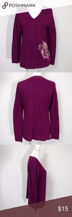 "Carhartt Purple Long Sleeve Top Size M (8/10) Carhartt Purple Long Sleeve Top Size M (8/10)  Pintuck V-Neck Floral Decal  100% Cotton  In Excellent Pre-Owned Condition and Shows Normal Signs Of Wear With No Stains or Holes.   All Measurements Posted Below are Aprox. & Taken While Laying Flat  Shoulders: 16"" Bust: 18"" Length: 23.25""  Please Ask Any Questions You may Have Before Purchasing.  Smoke & Pet Free Home  Please Check Out My Other Items  Inv#254 Carhartt Tops Blouses"