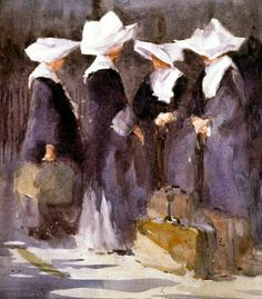 Nuns (Daughters of Charity of St Vincent de Paul), watercolor by Robert Wade.