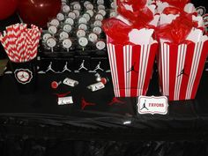 Jumpman Inpired Baby Shower *Party Circles *Miniature Candies *Lollipops  *Food Table Tents