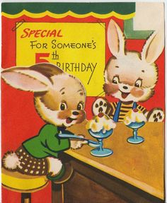 Vintage Greeting Card Cute Animal Bunny Rabbit Ice Cream Shop 5th Birthday v960