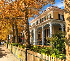 Victorian buildings in fall leaves and foliage. Cape May Point, Ocean City, Jersey Cape, Cape May County, New Jersey