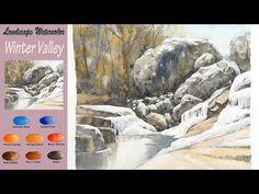 Landscape Watercolor - Winter Valley (Arches rough, wet-in-wet) NAMIL ART Watercolor Video, Watercolor Paintings Abstract, Watercolor Landscape, Landscape Paintings, Watercolor Lesson, Abstract Oil, Acrylic Painting Lessons, Acrylic Painting Tutorials, Watercolour Tutorials