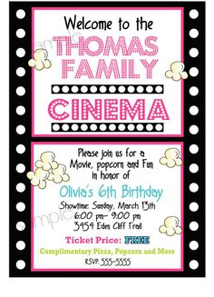 Movie Night Birthday Party Invitations,  Movie and Popcorn, Birthday party,  Children, kids, film strip