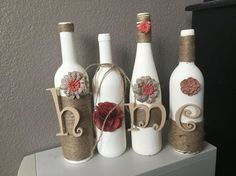 Wine bottle home decor decoration handmade by ChiclyShabbyDesigns