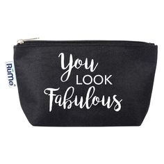 Travel Cosmetic Pouch: Encouragement Collection Black - You Look Fabulous, Black Purple