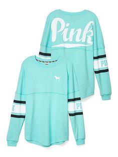 Varsity Crew PINK LU-327-887 (157) A campus favorite shows its sporty side with our bold logo ­— playfully scripted in overlaid mesh. Only by Victoria's Secret PINK. Oversized Overlaid mesh graphics Our lightest French terry Longer, tunic length Imported cotton/polyester