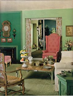 pink and green living room - Bing Images