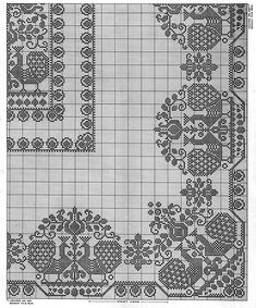 Peacock Parade Tablecloth Pattern #7612 chart Crochet Tablecloth Pattern, Crochet Lace Edging, Crochet Cushions, Thread Crochet, Crochet Doilies, Doily Patterns, Cross Stitch Patterns, Crochet Patterns, Filet Crochet Charts