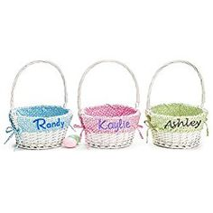 Large, Blue with Chocolate Polka Dots Personalized Woodchip Easter Basket with Custom Designed Liners