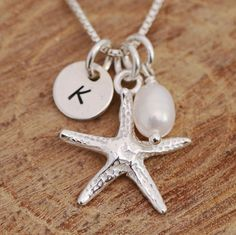 925 Sterling Silver Personalised Starfish & Pearl Pendant Necklace & Initial Tag