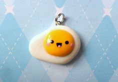 Kawaii Egg Charm Sunny Side Up Polymer Clay Charm. $5.50, via Etsy.