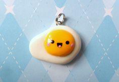 Kawaii Egg Charm Sunny Side Up Polymer Clay Charm. $5.50, via Etsy.
