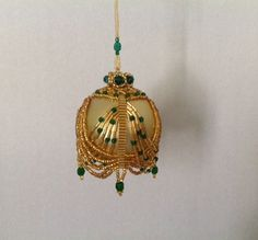 Hand beaded Christmas ornament cover/ Gold emerald ornament/Seed bead swag ornament/crowned ornament/ready for gifting ~ by ElegantPerle on Etsy