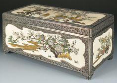 Silver and shibayama box - Masamichi
