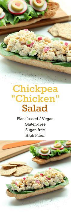 """Chickpea """"Chicken"""" Salad (Gluten-free, Plant-based / Vegan, Sugar-free)"""