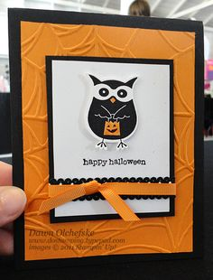 handmade Halloween card ... owl trick-or-treater ... bright orange, white & black ... Stampin' Up!