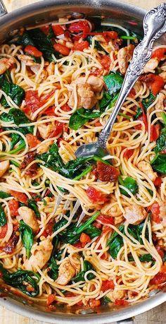 Summer Pasta Recipes, Vegetarian Pasta Recipes, Pasta Dinner Recipes, Easy Pasta Recipes, Easy Meals, Cooking Recipes, Healthy Recipes, Vegetarian Spaghetti, Italian Pasta Recipes