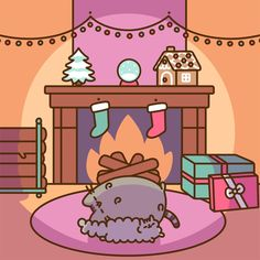 Curled up by the fire at Christmas ~ Pusheen the Cat & little sister Stormy the Kitten [GIF] Gato Pusheen, Pusheen Love, Pusheen Christmas, Christmas Cats, Merry Christmas, Christmas Comics, Kawaii Drawings, Cute Drawings, Pusheen Stormy