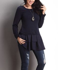 Another great find on #zulily! Navy Chiffon Layered Tunic - Plus by Reborn Collection #zulilyfinds