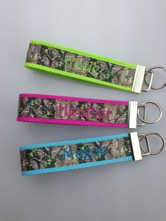 Camo Monogrammed Fun Wristlet Key Chains Names or Initials on Etsy, $6.50