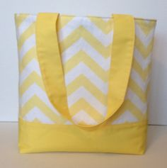 Baby Yellow and White Chevron Tote by WrapItUpByG on Etsy, $32.00