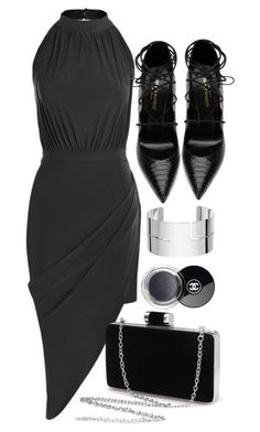 """Lady In Black"" by monmondefou ❤ liked on Polyvore featuring Yves Saint Laurent, Dinh Van and Chanel"