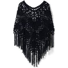 Chicwish Delicate Hand-knit Fringe Cape in Black ($42) ❤ liked on Polyvore featuring outerwear, black, cape poncho, fringe ponchos, fringed cape, style poncho and poncho cape coat