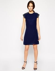 Little Mistress Plus Size Shift Dress with Embellished Sleeve Detail - navy