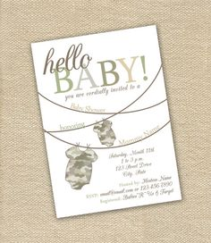 Perfect for a little baby for a military family! Camo Baby Shower Invite. Camo color can even be changed!
