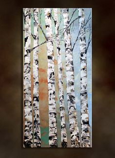 Original Modern Large Birch Tree Painting.Palette Knife.Impasto.Landscape.Autumn Thick Painting  36 .. - by Nata S.