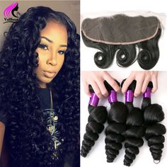 7A Malaysian Hair Weave Loose Wave With Frontal 3 Bundles With Closure Frontal Malaysian Loose Lace Frontal Closure With Bundles
